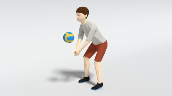 kid playing volleyball ball 3D model