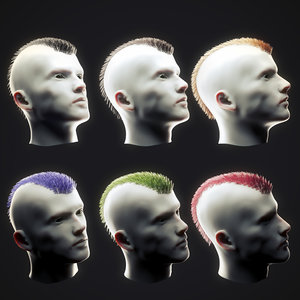 3D punk hairstyle 1 model
