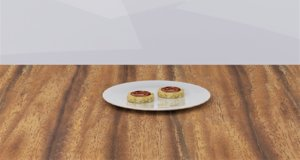 3D rice cake peanut butter model