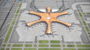 3D beijing daxing international airport model