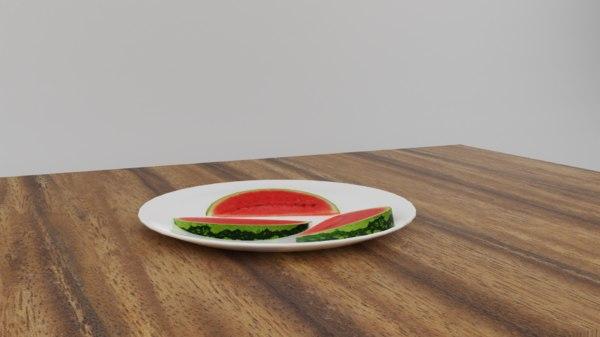 3D watermelon slices