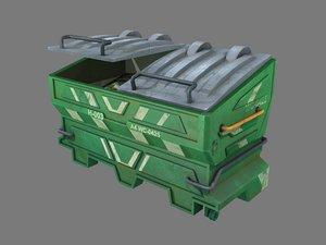 3D pbr green dumpster