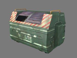 pbr dark green dumpster 3D model