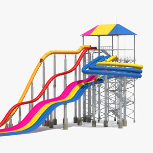 3D mat racer water slide model