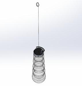 3D led fold solar lamp model