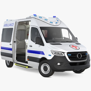 ambulance van generic rigged model