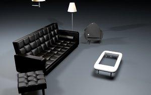 furniture sofa table glass model