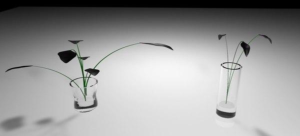 3D glass plant pots model