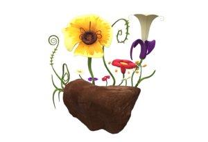 flower garden diorama 3D