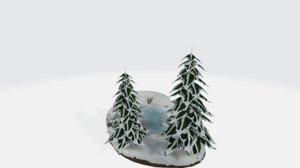 frozen lake diorama 3D model