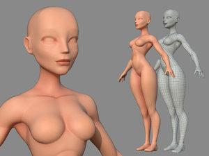 3D model character female body base