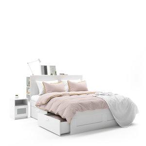 ikea brimnes white bed 3D