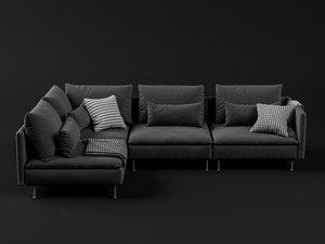 ikea sofa grey 3D model