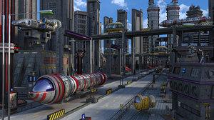 sci-fi street 3D model