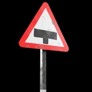 major road ahead roadsign 3D model