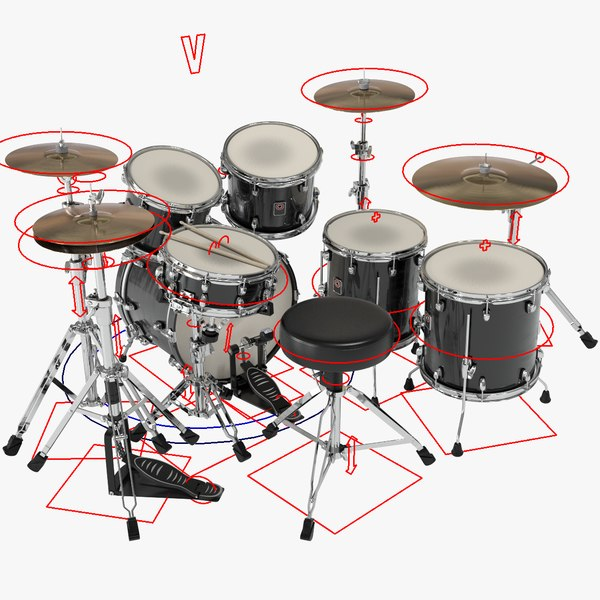 3D rigged drumset model