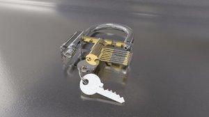 closed security padlock lock key 3D