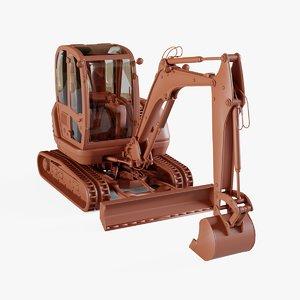 compact excavator 3D model