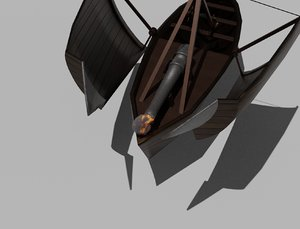 cannon boat leonardo da 3D model
