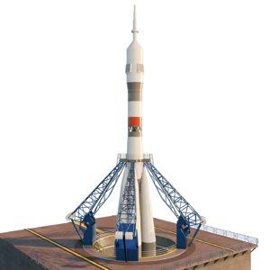 3D rocket soyuz russia