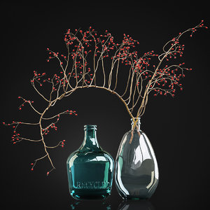 decorative branch red berries 3D model