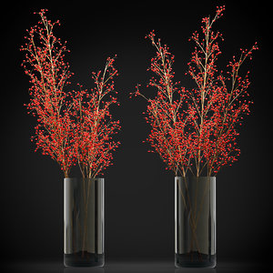 decorative big branches red 3D