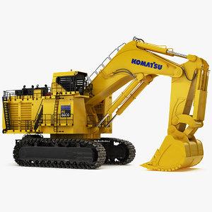 rigged mining excavator komatsu 3D