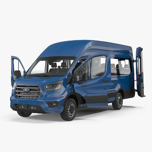 3D model transit van 2020 rigged