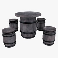 barrel table chairs 3D model