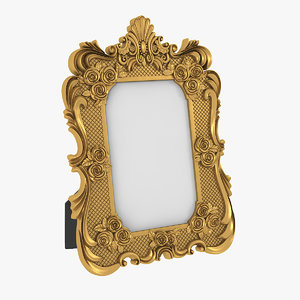 3D realistic baroque photo frame model