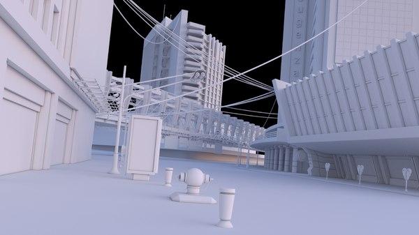3D dystopian buildings