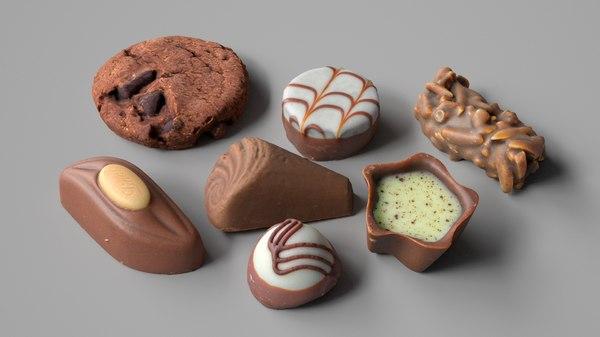 chocolate pralines cookie 3D model