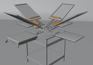 3D model screen printing carousel