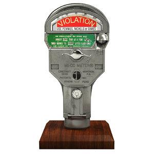 retro parking meter 3D