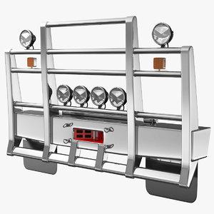 semi truck grille guard 3D model