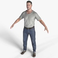 3D male casual clothing jeans model