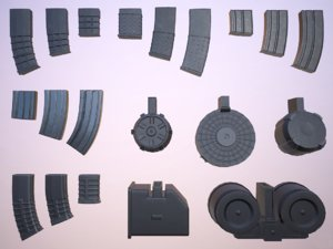 rifle gun magazines pack 3D