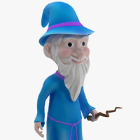Cartoon Wizard Rigged for Cinema 4D