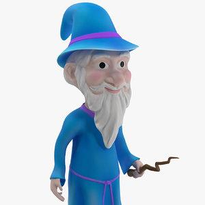 cartoon wizard rigged 3D model