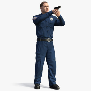 nypd cop aiming ny 3D model