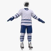 3D hockey equipment set model