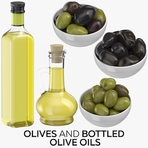 olives bottled oils 3D