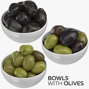 bowls olives 3D model