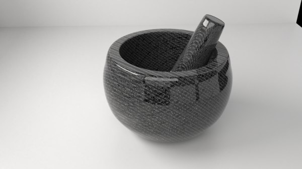 ceramic stone mortar pestle 3D model