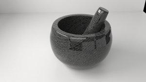ceramic stone mortar pestle 3D model