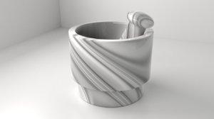 3D marble stone mortar pestle model