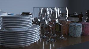dishes kitchen 3D model