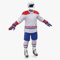 3D hockey white equipment