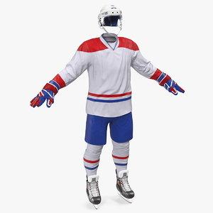 3D hockey white equipment