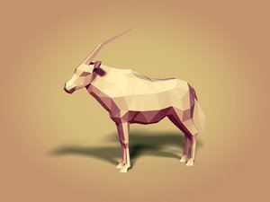 cartoon oryx 3D model